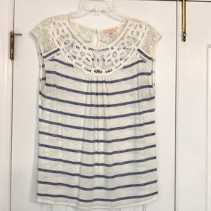 Stitch Fix Skies Are Blue striped top with lace